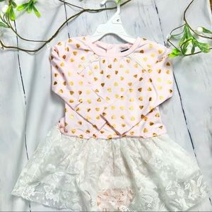 Kensie- Infant Girls Pink Top with Gold Hearts
